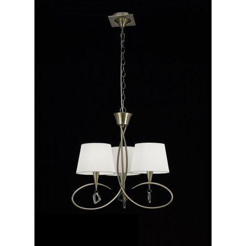 lampa wisząca MARA 3L antyczny mosiądz - kremowe klosze, MANTRA 1620