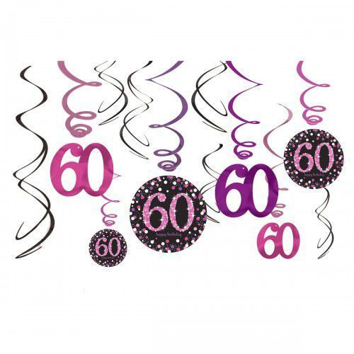 Świderki, dekoracja na 60 urodziny różowa Sparkling Celebration, SWID/7873-A