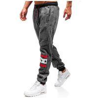J.style Spodnie męskie dresowe joggery grafitowe denley 55068