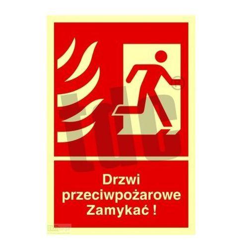 Drzwi przeciwpożarowe. Zamykać! Kierunek drogi ewakuacyjnej w prawo Art. BB014
