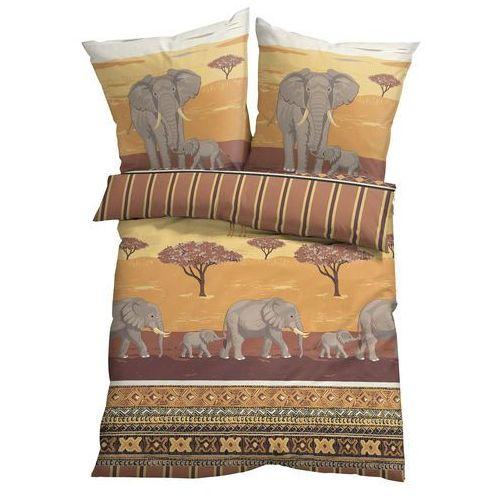 Pościel z nadrukiem w słonie bonprix kremowy