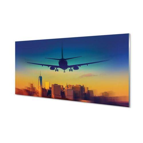 Obrazy akrylowe Miasto chmury samolot zachód