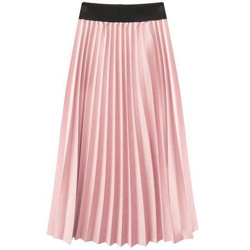 Plisowana spódnica midi pudrowy róż (201art) - różowy, Made in italy