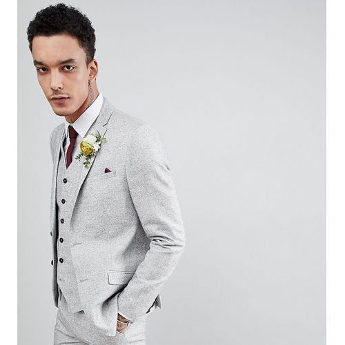 slim wedding suit jacket in linen texture - grey, Heart & dagger