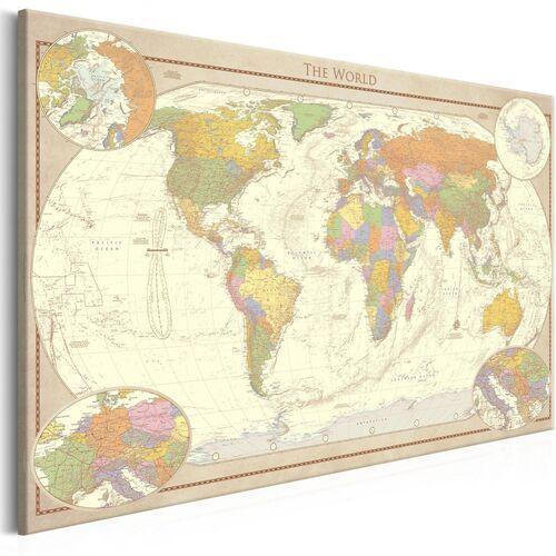 Artgeist Obraz - kremowa mapa świata
