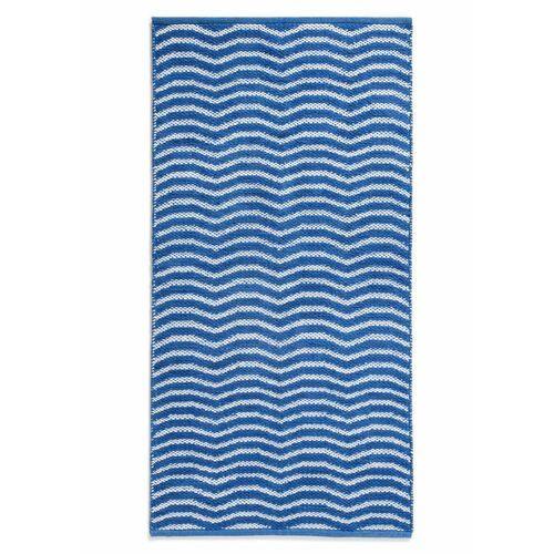 Dywaniki łazienkowe w falowane linie niebiesko-biały marki Bonprix