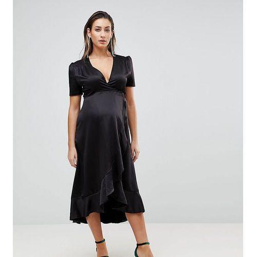 Queen Bee Maternity Wrap Front Asymmetric Ruffle Front Midi Skater Dress - Black, kolor czarny