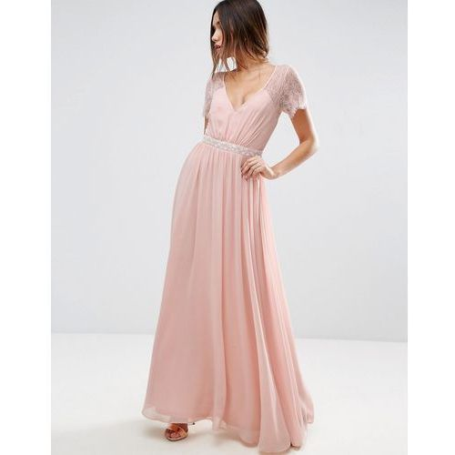 Asos kate lace embellished trim maxi dress - pink