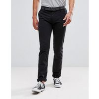 Tom tailor chino with belt in black - black