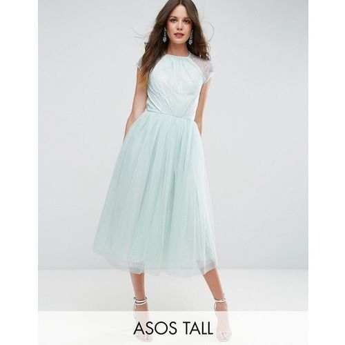 premium lace tulle midi prom dress - green marki Asos tall