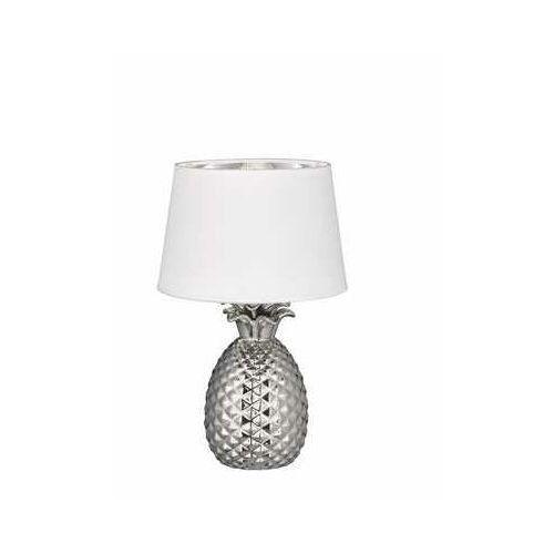 Srebrno-biała – ceramiczna lampa stołowa pineapple marki Reality leuchten