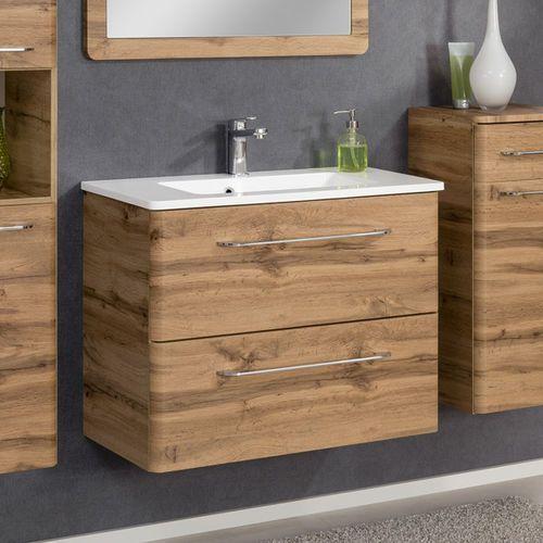 Nowoczesna szafka łazienkowa dąb 80 cm z umywalką beta marki Badmobil by fackelmann