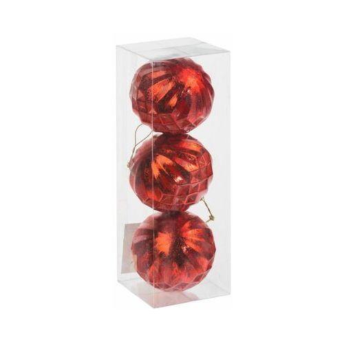 Bombki plastikowe 8 cm 3 szt. czerwone (3276000456674)