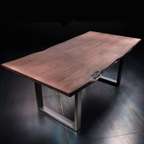 Fato luxmeble Stół catania obrzeża ciosane orzech, 180x100 cm grubość 3,5 cm
