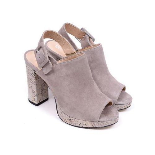 Sandały damskie Carinii B3240-G66 suede 0426/reptile 01 kol 07 38 beżowy, kolor beżowy