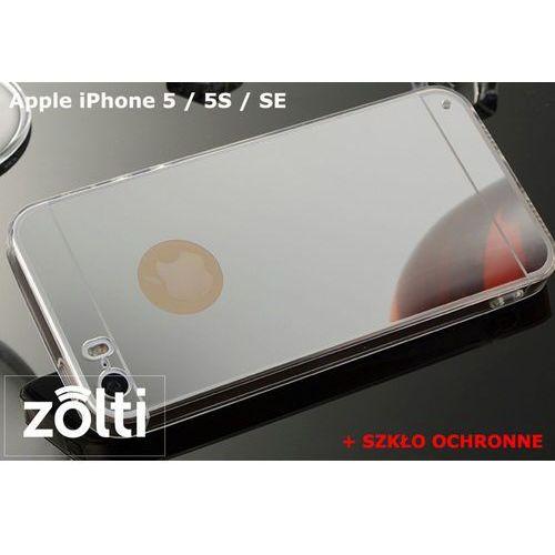 Zestaw | Slim Mirror Case Srebrny + Szkło ochronne Perfect Glass | Etui dla Apple iPhone 5 / 5S / SE