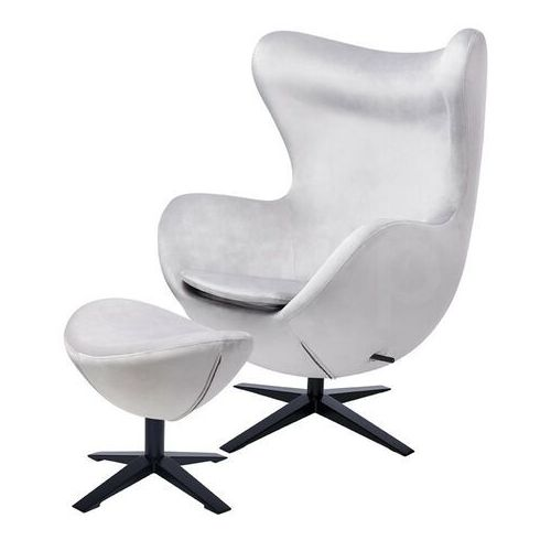 Sofa.pl Fotel egg szeroki velvet black z podnóżkiem jasny szary.37 - welur, podstawa czarna