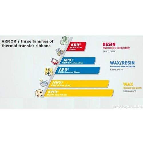 ARMOR taśma termotransferowa, APR 5 woskowo-żywiczna, 90mm, czerwony, T22808