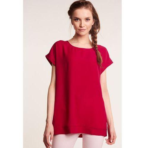 Amarantowa bluzka z krótkim rękawem