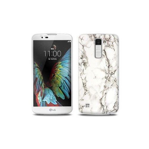LG K10 - etui na telefon Full Body Slim Fantastic - biały marmur, kolor biały