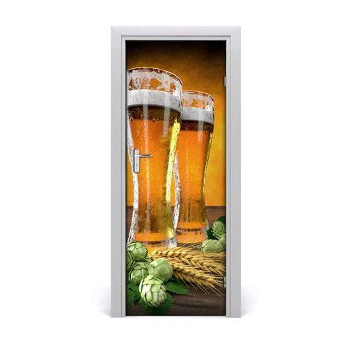 Naklejka na drzwi samoprzylepna Dwie szklanki piwa