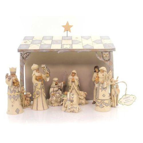 Biała Szopka styl vintage White Woodland Nativity 4053690 Jim Shore figurka ozdoba świąteczna