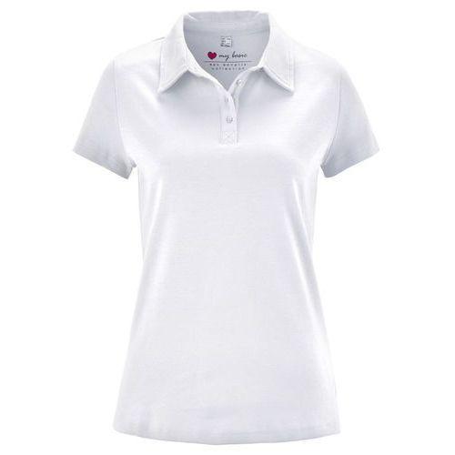 Bonprix Shirt polo z krótkim rękawem biały
