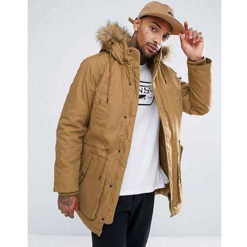 parka with detachable fur hood in camel - tan marki Bershka