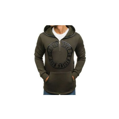 Długa bluza męska z kapturem z nadrukiem zielona Denley 171586