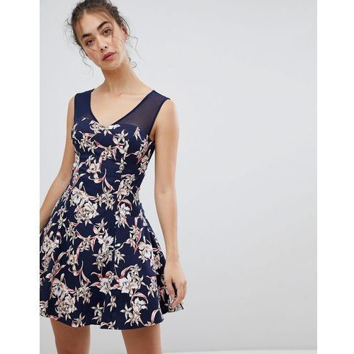 Qed london floral skater dress with mesh detail - navy