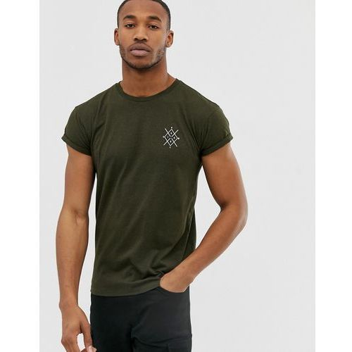 muscle fit t-shirt with chest print in khaki - green marki Bershka