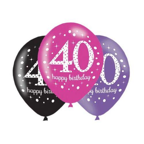"""Balony z nadrukiem """"40"""" - 28 cm - 6 szt. marki Amscan"""
