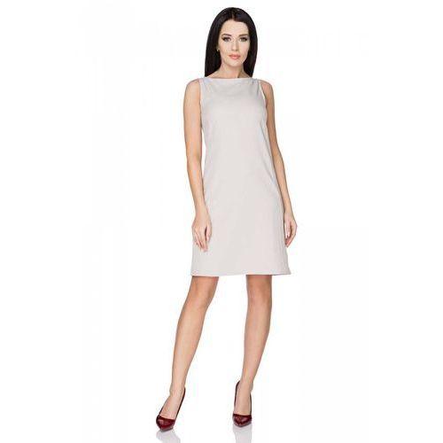 Szara Sukienka Klasyczna bez Rękawów, kolor szary
