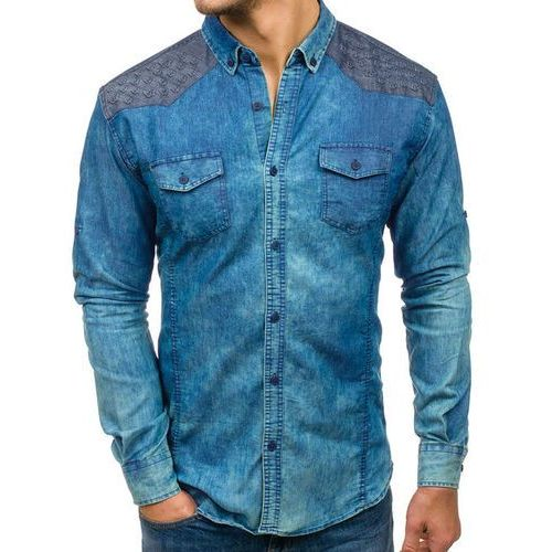 Koszula męska jeansowa we wzory z długim rękawem niebieska Denley 0517, kolor niebieski