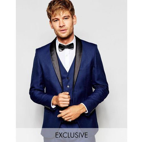 Selected Homme Exclusive Tuxedo Suit Jacket with Shawl Lapel in Skinny Fit - Blue
