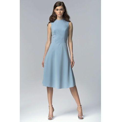 Niebieska elegancka rozkloszowana midi sukienka bez rękawów marki Nife