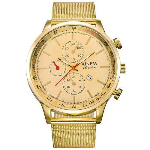 Zegarek męski XINEW bransoleta złoty - all gold, kolor żółty