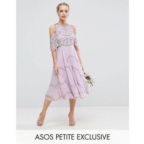 wedding embellished floral cold shoulder midi dress - multi marki Asos petite