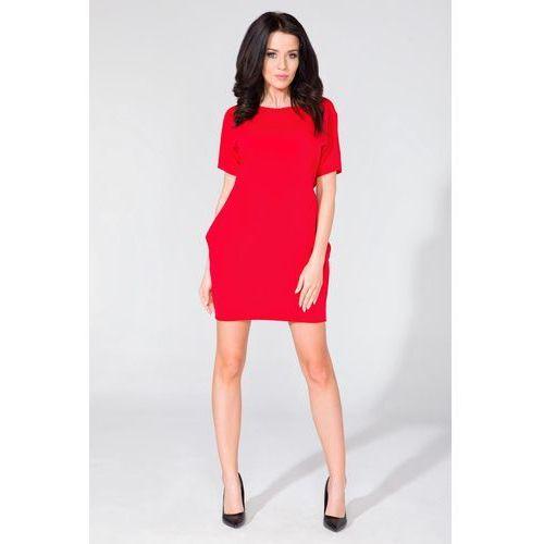 Prosta Dzianinowa Czerwona Sukienka z Kieszeniami po Bokach, w 6 rozmiarach