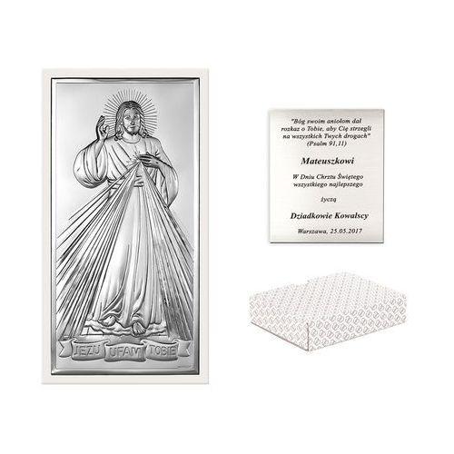 Obrazek Srebrny BIANCO Jezus Miłosierny GRAWER PR397