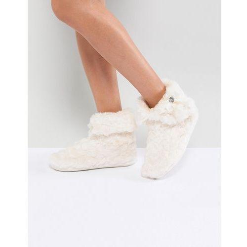 River island faux fur embellished slipper boots - cream