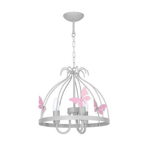 Milagro Lampa wisząca kago mlp 1170 metalowa oprawa do pokoju dziecięcego zwis motylki jasnoróżowe