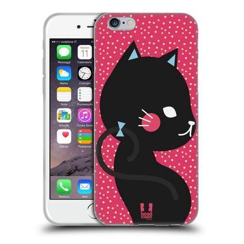Etui silikonowe na telefon - Cats and Dots Black Cat in Pink
