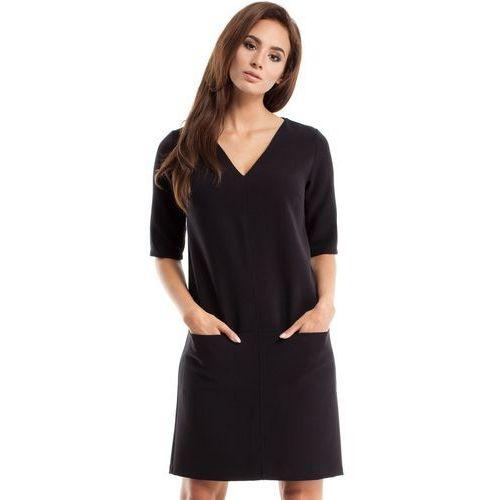 250 sukienka dwie kieszenie czarna, Moe, 36-42