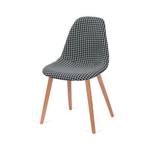 King home Krzesło tapicerowane plush - podstawa bukowa - tetris