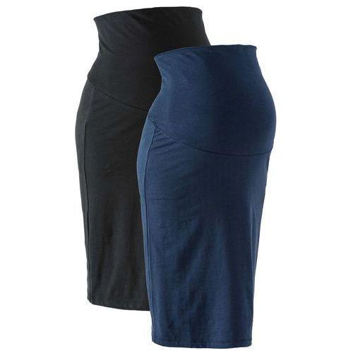 Bonprix Spódnica ciążowa z dżerseju (2 szt.) czarny + ciemnoniebieski