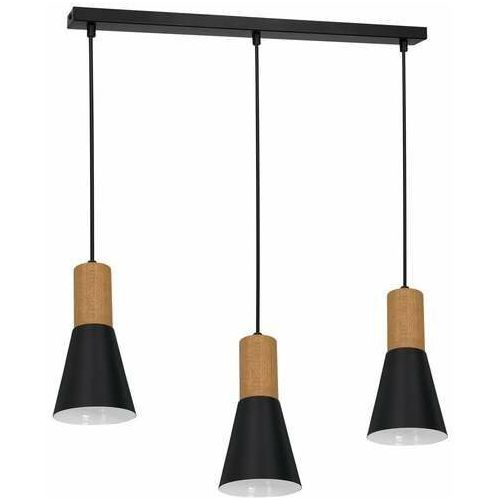 Luminex Edmon 1987 lampa wisząca zwis 3x60W E27 czarna/drewniana