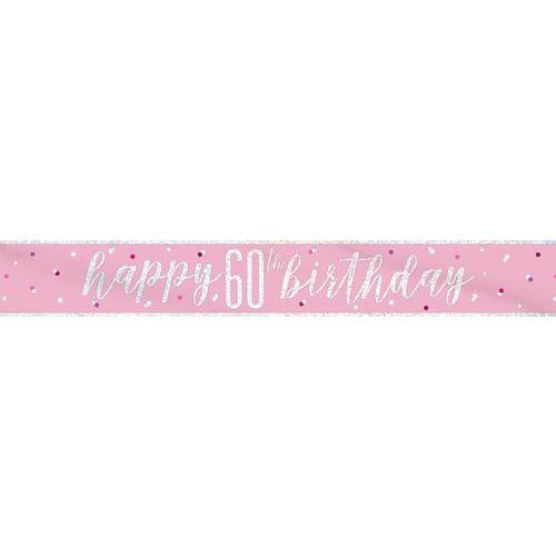 Unique Baner happy birthday różowy na 60 urodziny - 274 cm - 1 szt.