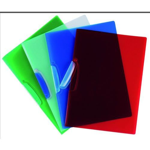 Q-connect Skoroszyt  z plastikowym klipsem, pp, a4, 520mikr., transparentny czerwony