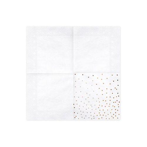 Party deco Serwetki urodzinowe białe w różowo-złote małe kropki - 33 cm - 20 szt. (5900779119581)